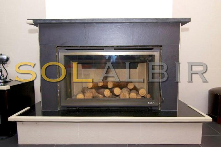 The nice, autentic and modern fireplace
