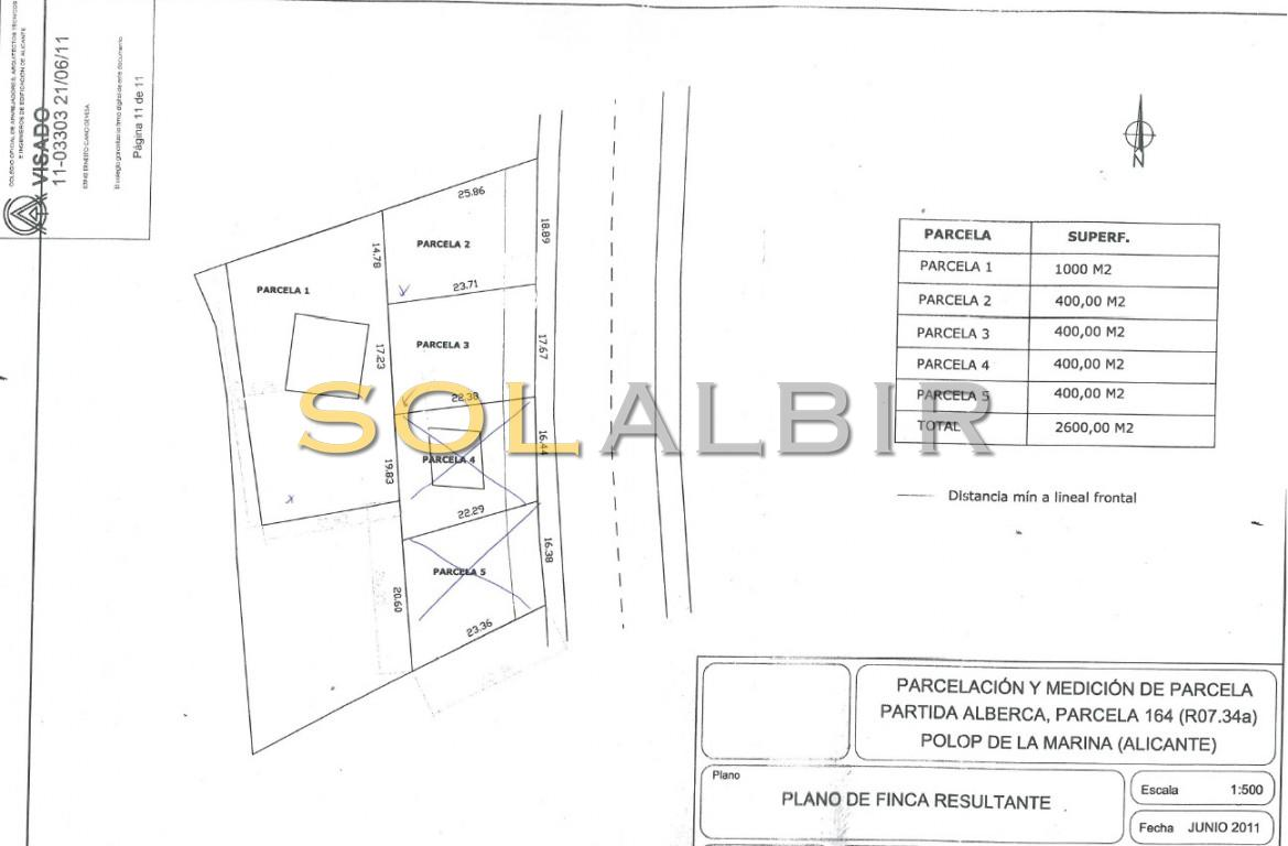 1800m2 distributed in 3 building plots