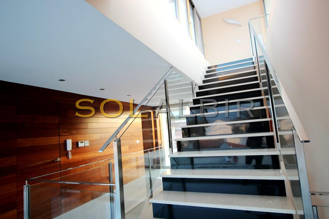 Marbel stairs and wood walls