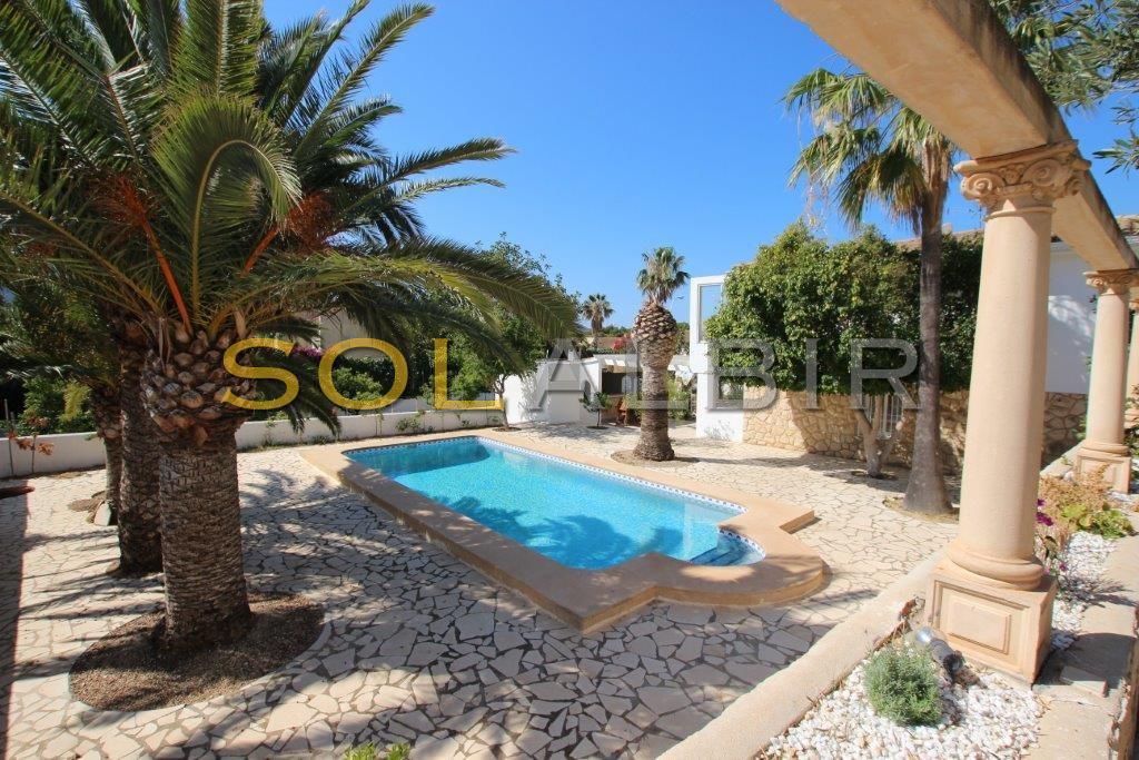 Sunny pool and big garden