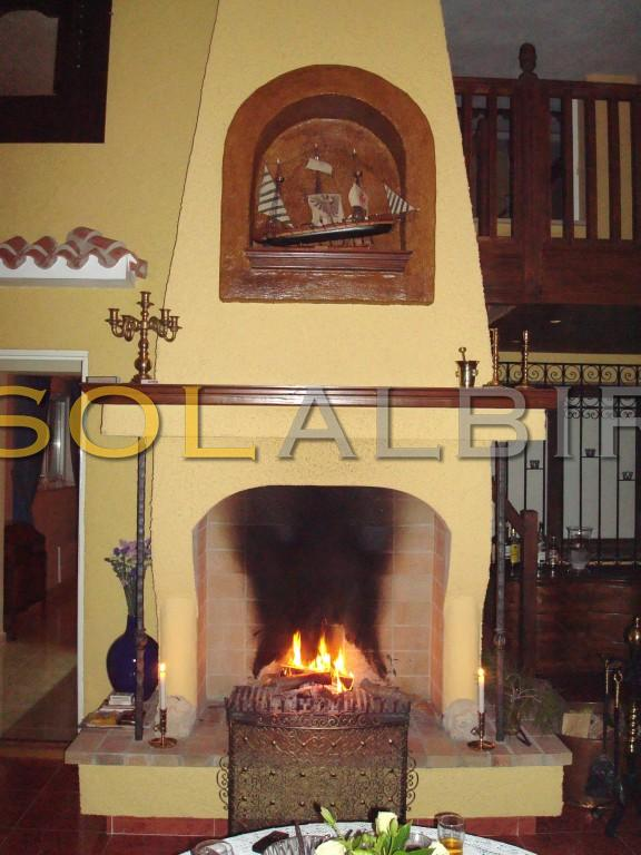 The fireplace in the patio