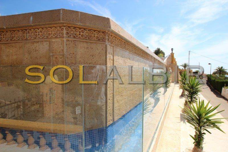 The solid wall of the infinity pool